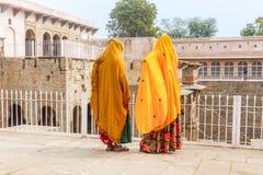 Two women at Chand Baoli Stepwell Royalty Free Stock Image