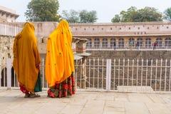 Two women at Chand Baoli Stepwell Stock Image