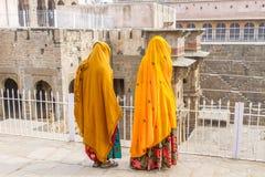 Two women at Chand Baoli Stepwell Stock Photos
