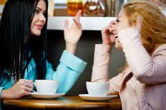 Two women chatting in cafe royalty free stock image