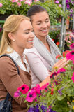 Two women choosing flowers in garden center Stock Photo