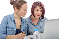 Two women college working on  laptop computer Stock Photo