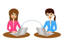 Two women communicate over the internet Stock Photo
