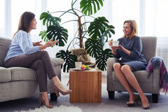Two women communicating while drinking coffee in living room. Wide shot of two women communicating while drinking coffee in living room Stock Photo