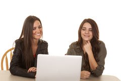 Two women computer both happy. Two women are sitting at a computer and are happy Royalty Free Stock Photography