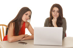 Two women computer both serious look at screen Royalty Free Stock Photos