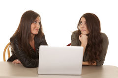 Two women computer look at each other Stock Photo