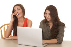 Two women computer one phone happy. Two women are sitting at a computer and one is on the phone Royalty Free Stock Image
