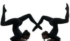 Two women contortionist  exercising gymnastic yoga silhouette. Two women contortionist practicing gymnastic yoga in silhouette  on white background Stock Images
