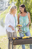 Two Women Cooking Barbeque In Countryside Royalty Free Stock Photography