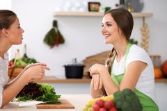 Two women is cooking in a kitchen. Friends having a pleasure talk while preparing and tasting salad. Friends Chef Cook. Concept Royalty Free Stock Images