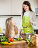 Two women cooking something with vegetables. Focus on blonde stock photography