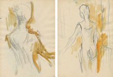 Two women-dancers,drawing Stock Photos