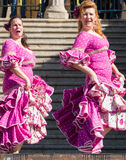 Two Women Dancing at Flamenco Festival in Spain Royalty Free Stock Photos