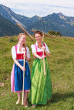 Two women in dirndl with rakes have fun at work. Two bavarian women in dirndl with rakes on their shoulders having fun in a meadow in the mountains Royalty Free Stock Photography