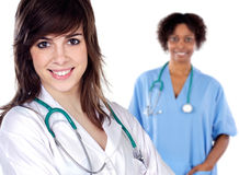 Two women doctor royalty free stock images