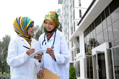 Two Women Doctor With Scarf, Outdoor Stock Image