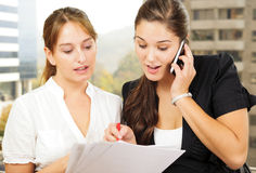 Two women doing business Stock Photography