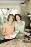 Two women doing dishes in kitchen Royalty Free Stock Images