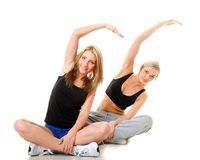 Two women doing fitness exercise  Stock Image