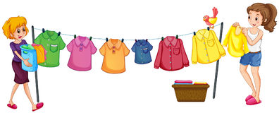 Two women doing laundry. Illustration Royalty Free Stock Photography