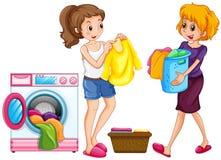 Two women doing laundry. Illustration Royalty Free Stock Photo