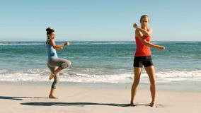 Two women doing martial arts on the beach. In slow motion stock video footage