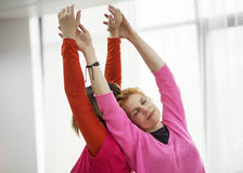 Two women doing physical practice Stock Photo