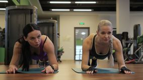 Two women are doing plank exercise in a sports club indoors. Young females practice for abs, leaning on floor in spacious room. Fitness ladies in sportswear stock video footage