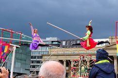 Two women perform on a tightrope in Germany royalty free stock photos