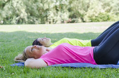 Two women are doing sport. Royalty Free Stock Photo