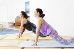 Two women doing yoga at home Stock Photos