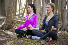 Two women doing yoga in the middle of the woods Royalty Free Stock Images