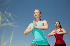 Two women doing yoga outdoors photo yoga shows poses. Young two women doing yoga outdoors photo yoga shows poses royalty free stock photo