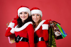 Two women in dressed as Santa Royalty Free Stock Images