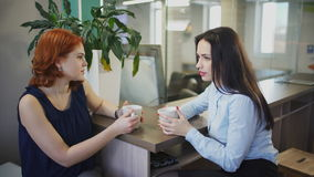 Two women drink coffee speak inside office in break up. Red-haired woman in blue blouse, grey trousers speaking with colleague, telling story, drinking tea stock video