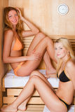 Two Women in a Dry Sauna Royalty Free Stock Images