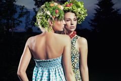 Two women with eco hair style Royalty Free Stock Image