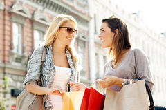 Two women enjoy shopping Stock Photo