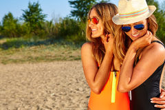 Two Women Enjoying Beach Holiday Stock Photography
