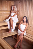 Two women enjoying a hot sauna Stock Photos