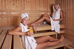Two women enjoying a hot sauna Stock Image