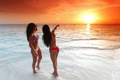 Two women enjoying sunset on beach Stock Images