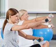 Two women exercising with dumbbells Stock Photo