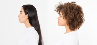 Two women face profiles isolated on white background. Asian and african american woman with healthy hair. Skin care, multi ethnic. Two women face profiles royalty free stock photos