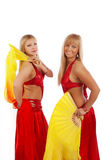 Two women with fantails. Happy smiling girls with fantails Stock Images