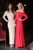 Two women Fashion model wearing evening gown, club Stock Images