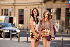 Two women fashion street Stock Images