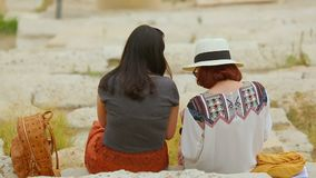 Two women, female friends spending time together, lesbian couple having date. Stock footage stock video footage