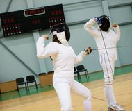 Two women on a fencing training Royalty Free Stock Images